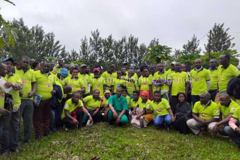 Farmers in their project T-shirts pose for a group photo after their farm tour